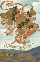 A Merry Christmas - Cherubs and Bell