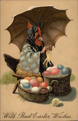 Rooster Knitting Under Umbrella with Baskets of Easter Eggs