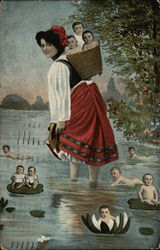 Young Lady Wading with Babies in Basket and Lillypads