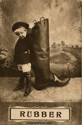 Child Standing Next to Same Sized Rubber Boot