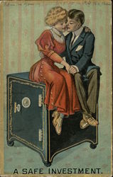 Woman and Man Cuddling on Safe