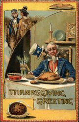 Uncle Sam eating Turkey, Pilgrims
