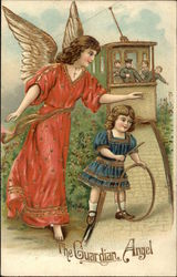 Girl Playing on Train Tracks with Guardian Angel Protecting