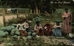 Black People Eating in Watermelon Patch