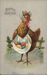 Chicken Carrying Colored Eggs