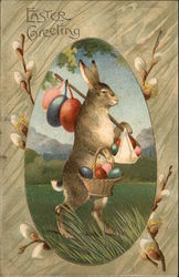 Easter Greeting: Rabbit Carrying Eggs