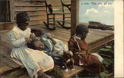 Black Children Sitting on Porch
