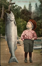 Small Child looking up at large fish - Embryo fisherman and his catch