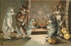 Cats Gathered Around the Fireside