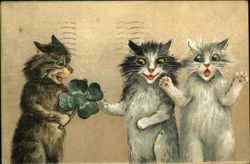 Anthropomorphic Kittens with 4 Leaf Clover