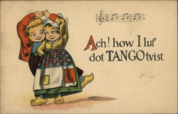 Children Dancing Illustrated Postcard with Music Notes