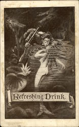 Man Drinking from Pond. Lips to Mermaid