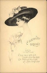 Woman with Fancy Hat and Iris