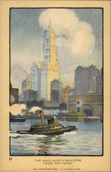 New York City, Painted view of Woolworth Building From the Ferry