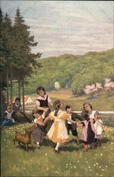 Volkslied - Children Dancing Outdoors on a Hill