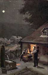 Volkslied - Illustration Family Stargazing at Night German Language