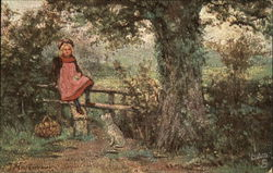 Little Girl Sitting on a Gate Outside with Dog