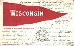 University of Wisconsin Pennant Postcard