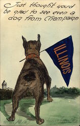Hand Drawn Dog Holding University of Illinois Pennant