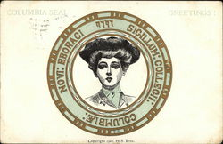 Columbia University Seal with College Girl in the Middle Postcard