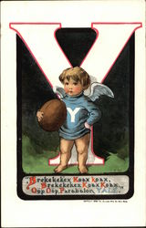 Cupid in Yale Colors Holding Football
