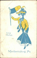 Irving College - College Girl with Pennant