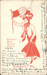 Edinboro State Normal School College Girl with Flag