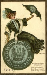 Tulane University of Louisiana College Girl with Flag and Seal