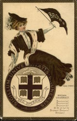 Brown University College Girl with Flag and Seal