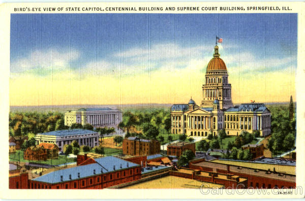 Bird's Eye View Of State Capitol Springfield Illinois