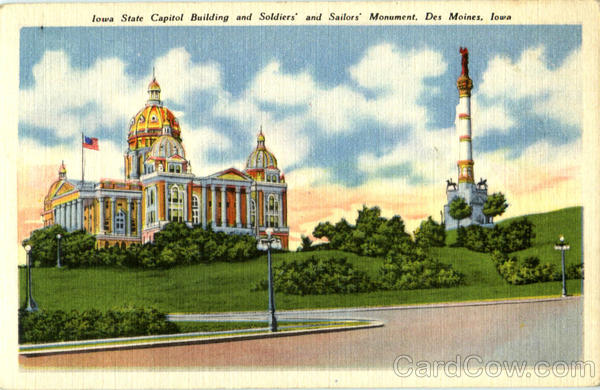 Iowa State Capitol Building And Soldiers And Sailors Monument Des Moines