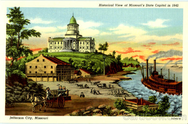 Historical View Of Missouri's State Capitol In 1842 Jefferson City