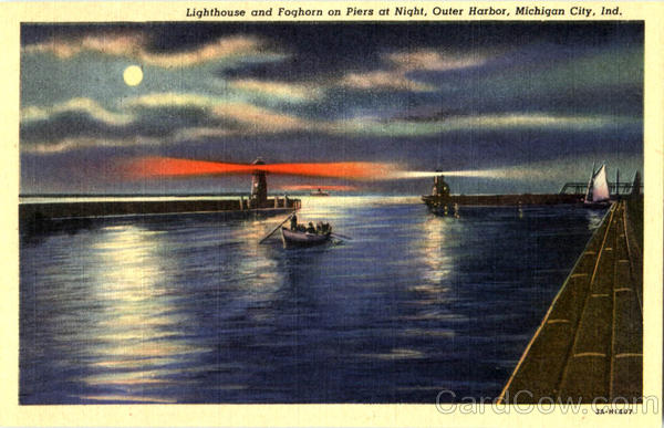 Lighthouse And Foghorn On Piers At Night Michigan City Indiana