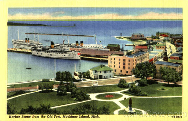 Harbor Scene From The Old Fort Mackinac Michigan