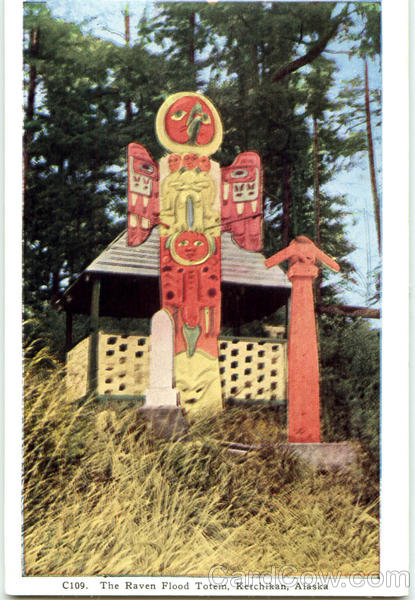 The Raven Flood Totem Ketchikan Alaska