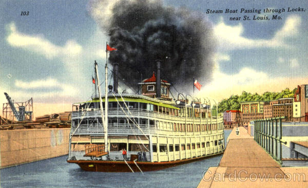 Steam Boat Passing Through Locks St. Louis Missouri