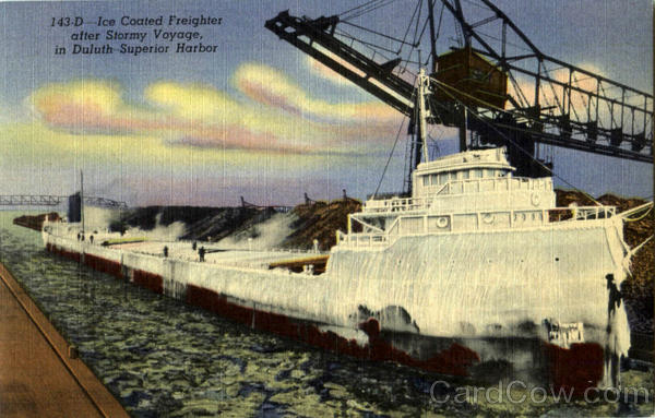 Ice Coated Freighter Boats, Ships