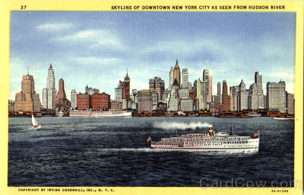Skyline Of Downtown New York From The West