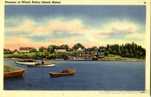 Steamer At Wharf Bailey Island Maine