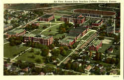Air View Kansas State Teachers College Postcard