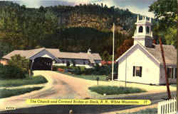The Church And Covered Bridge At Stark Postcard