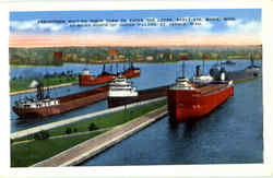 Freighters Waiting Their Turn To Enter The Locks, Sault Ste
