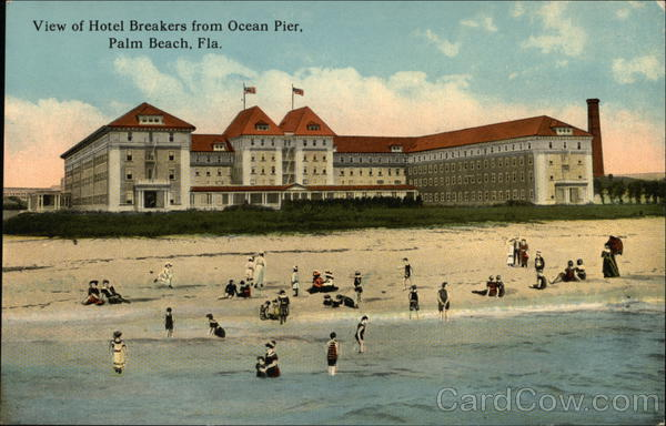 View of Hotel Breakers from Ocean Pier Palm Beach Florida