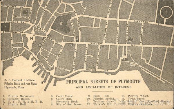 Principal Streets of Plymouth and Localities of Interest Massachusetts