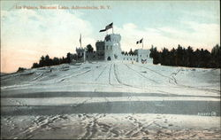Ice Palace in the snow at Saranac Lake