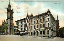 State Street, St. Peter's Church, Chamber of Commerce and County Bldg.