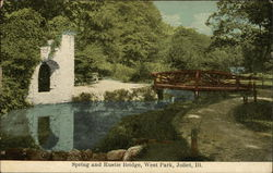 Spring and Rustic Bridge, West Park Postcard