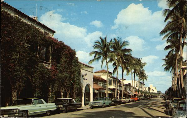 Looking East on Famous Worth Avenue Palm Beach Florida
