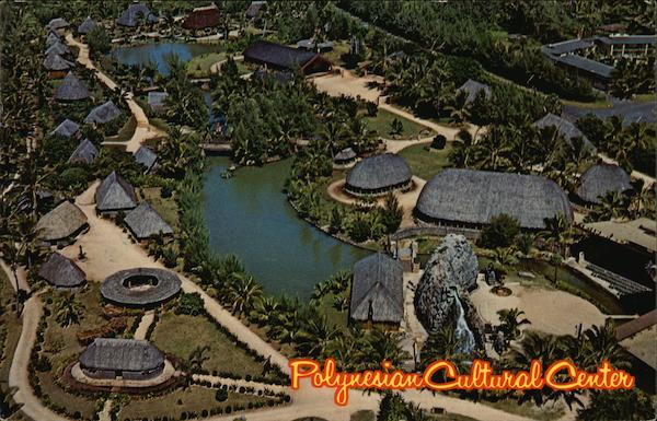 Aerial of Polynesian Cultural Center Oahu Hawaii