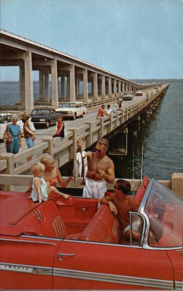 Pensacola Bay Bridge Florida Postcard